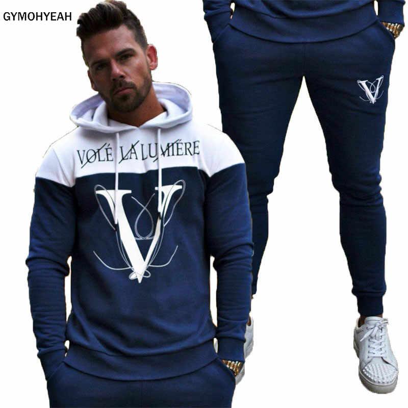 GYMOHYEAH nowa odzież sportowa moda męska dres mężczyźni trainingspak survetement męska strój sportowy bluzy dres zestaw męski
