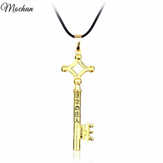 Ataque em titan eren chave colar de jóias de metal pingente colar eren cosplay anime brinquedo figura anime jóias venda direta da fábrica
