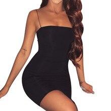 Летнее платье с рукавом, повседневное модное женское сексуальное однотонное платье без рукавов на бретельках, повседневное Клубное облегающее мини-платье vestidos# N05