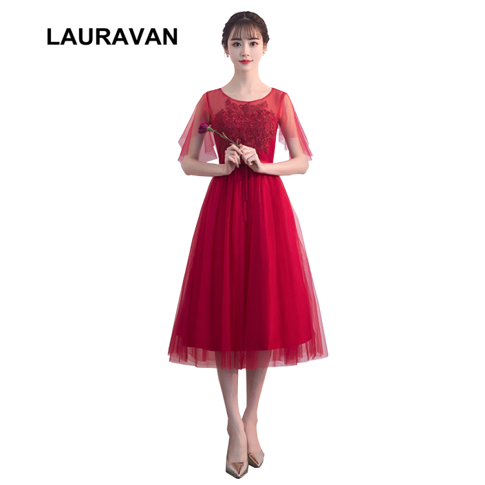 elegant short sexy wine red burgandy fanny fashion female formal   dresses   for   bridesmaid     dress   with cap sleeves formal gowns