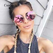 Coodaysuft Oversized Round Circle Frame Mirror font b Sunglasses b font Brand Design Female Male Super