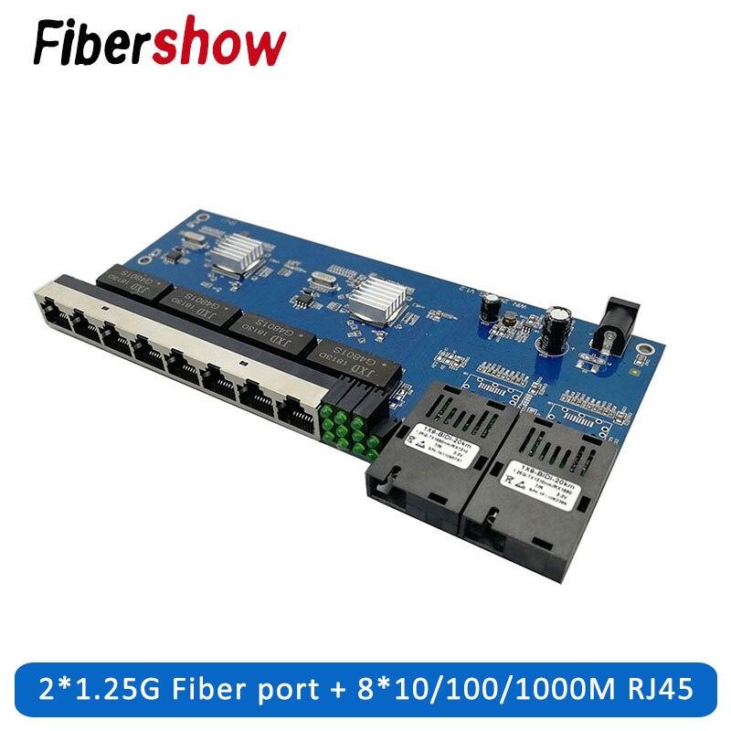 Fiber Optical Media Converter Gigabit Ethernet Switch PCBA 8 RJ45 UTP And 2 SC Fiber Port 10/100/1000M  Board PCB