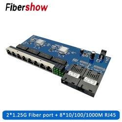 Gigabit Ethernet switch De Fibra Óptica Media Converter PCBA 8 RJ45 UTP e Porta de fibra SC 2 10/100/ 1000 M da Placa do PWB