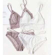 Cốc Tam Giác Dây Ít Cotton Áo Cúp Ngực Và Quần Bộ Gợi Cảm Đồ Ngủ Nữ Gợi Cảm Quần Lót Bạn Gái Trẻ Trung Bralette quần Lót