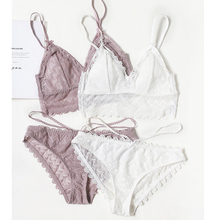 Cup triangle wire less cotton cup bra and panty set lace sexy sleepwear women sexy underwear lingerie young girls bralette panty