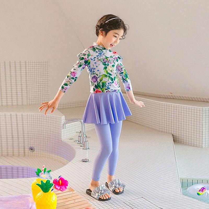 Swimsuit For Girls Kids 2019 Swimwear Children Bikini Child Korean New Cute Sunflower Girl Long Sleeve Pants Princess Skirt