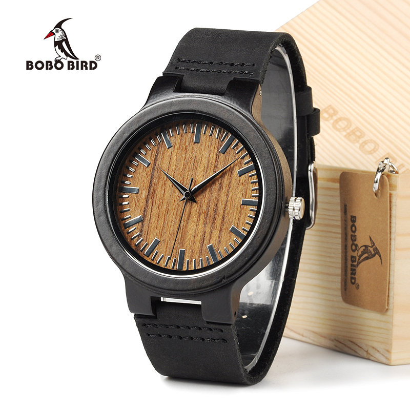BOBO BIRD C24 Bamboo Wooden Watch Japan Movement Quartz With Genuine Cowhide Leather Band Casual Watches bobo bird g03 japan movement quartz wooden watches antique men watch with genuine cowhide leather band