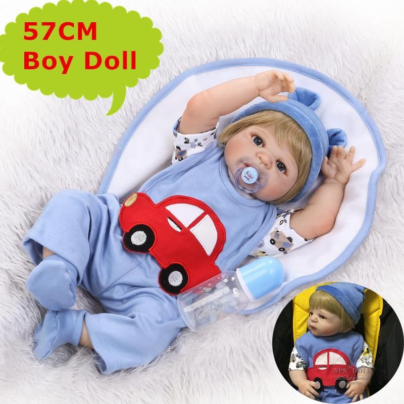 57cm NPK Full Silicone Body Reborn Baby Doll Realistic Bebe Boy Doll In Cute Blue Car