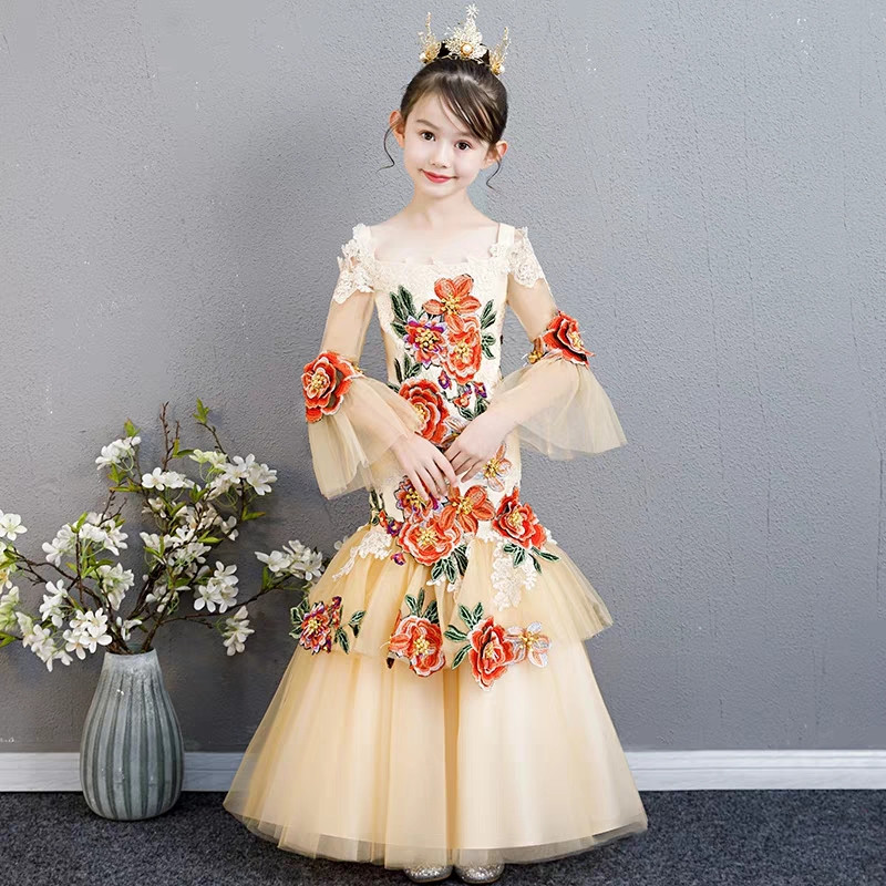 2018 New Children Girls Luxury Embroidery Flowers Birthday Evening Party Fishtail Prom Long Dress Model Show Catwalk Mesh Dress2018 New Children Girls Luxury Embroidery Flowers Birthday Evening Party Fishtail Prom Long Dress Model Show Catwalk Mesh Dress