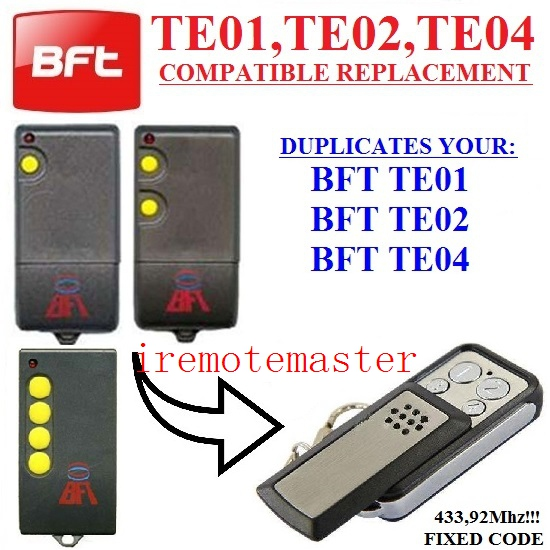 BFT TE01, BFT TE02, BFT TE04 Universal remote control replacement Fixed code 433.92MHz