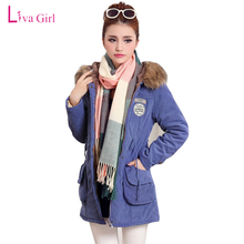 2017 Rushed Polyester Print New Autumn Winter Women Hooded Long Parkas Casual Outwear Lambswool Suede Leather Thicken Coat Lady