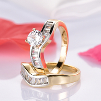 GULICX Trendy Austrian Crystal Ring Set Sterling Gold Color CZ Crystal Wedding Engagement Finger Ring Set