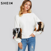 SHEIN Drop Shoulder Pullover With Faux Fur Sleeve White Long Sleeve Crew Neck Pullovers Color Block