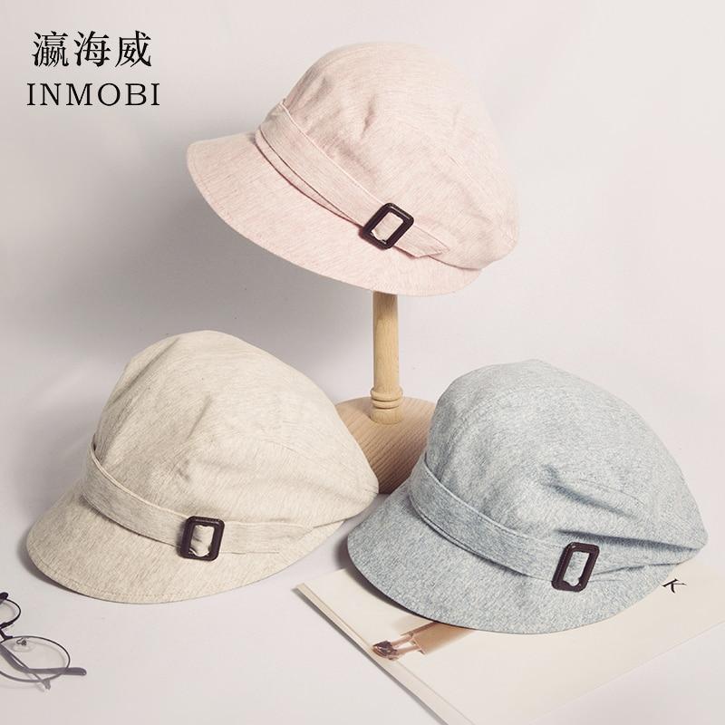 Fashion Cotton Sun Hat For Women Summer Outdoor Foldable Beach Hats Adjustable Beige/pink/blue Wide Brim Casual Visor Caps Femme