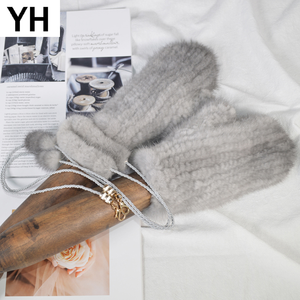 2019 Hot Sale Women Fashion Real Mink Fur Gloves Girls Knitted Real Mink Fur Gloves Winter Strong Elastic Real Mink Fur Mittens
