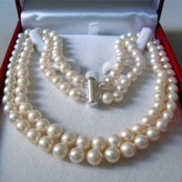 Charming 2 Rows 8 9mm White Akoya Saltwater Round Natural Pearl Beads Diy Beautiful Necklace 17