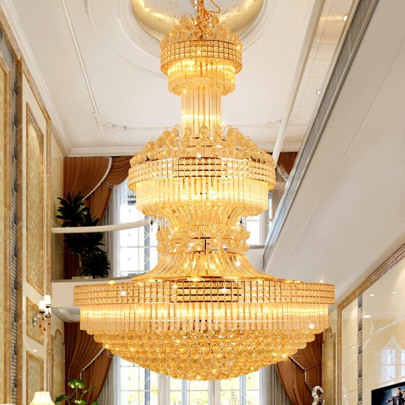 Lustre en cristal moderne Long lustres en or luminaire blanc chaud neutre blanc froid blanc 3 couleurs Dimmable lampes LED - 2