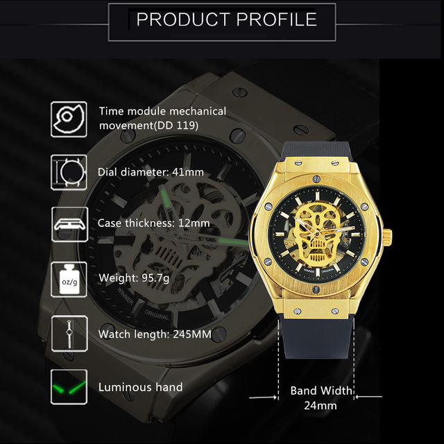 AUTO MECHANICAL GOLDEN SKELETON SKULL WATCHES (4 VARIAN)