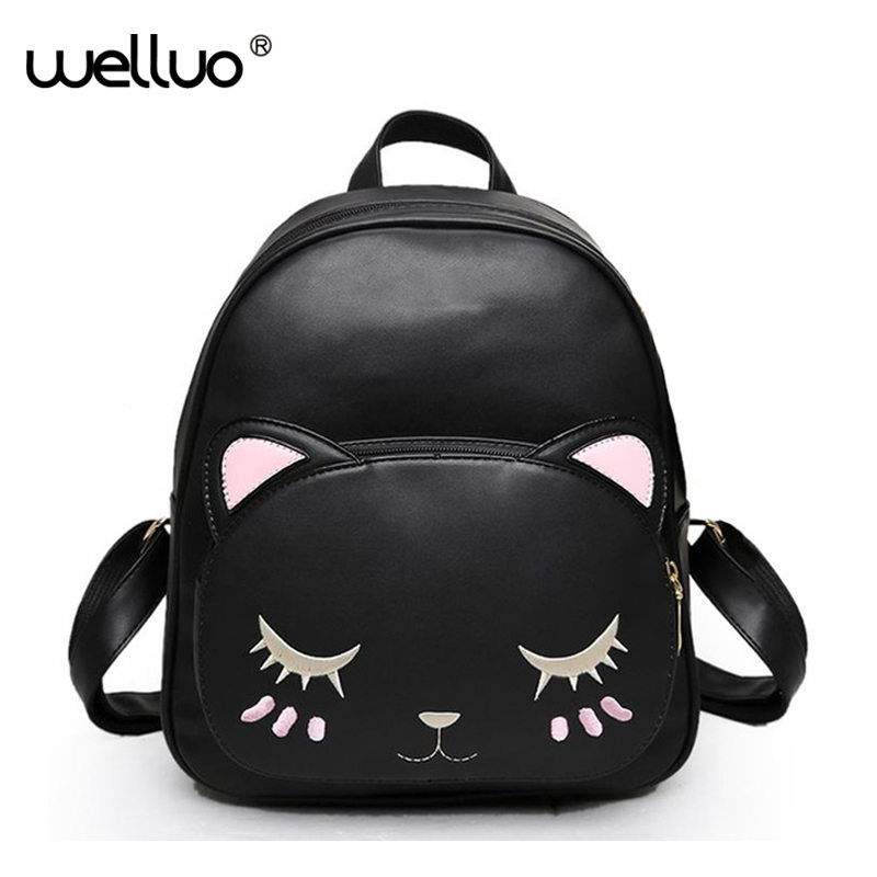 Wellvo Cat Backpack For Women High Quality Pu Leather Shoulder Bags Fashion Preppy Lovely Style School Travel Mochila XA265WB