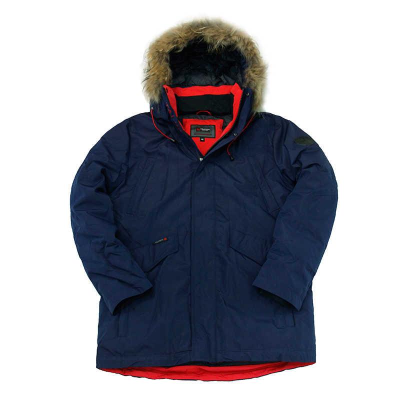 2019 新冬のジャケット男性冬コートパッド入りジャケットリアル毛皮厚いフード付きメンズ冬のパーカー Veste オム-