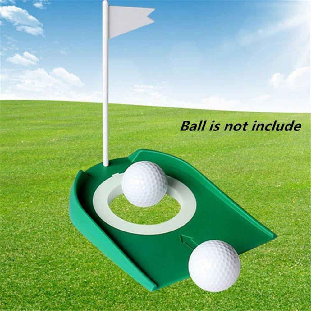 Indoor Golf Putting Cup With Hole Flag Return Ball Training Putter Practice Aids