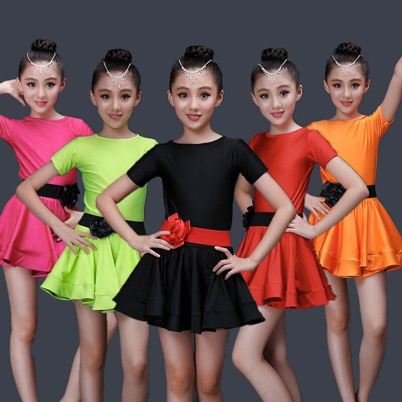 Child Children Girl Ballet Dance Dress For Girls Cha Cha Kid Gym Class Latin Dress Lace