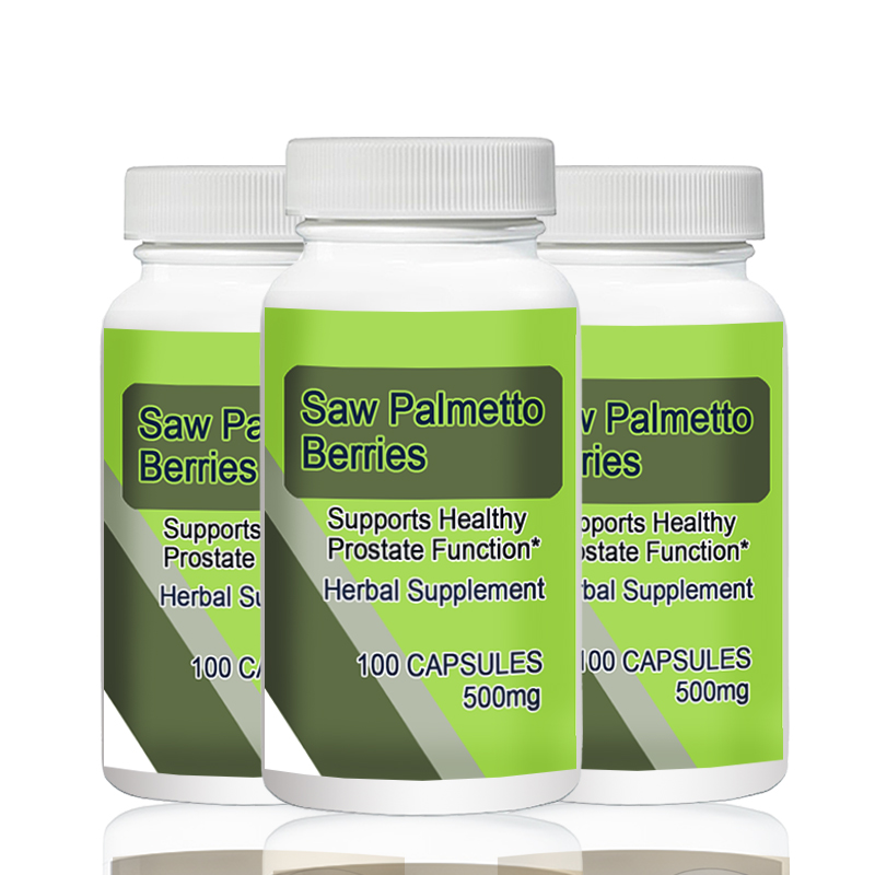 Saw Palmetto Berries 500mg 100pcs X 3 Bottles Total 300PCS Supports Healthy Prostate Function* saw palmetto extract 45