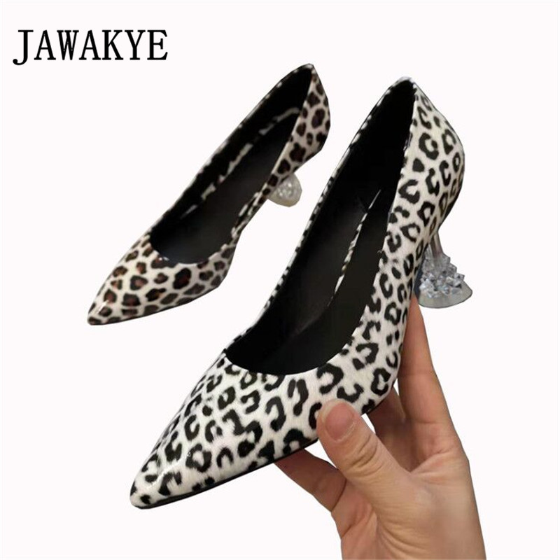 JAWAKYE Leopard pointed toe shallow shoes women sexy leather strange heels woman pumps fashion diamond dress wedding shoes WomanJAWAKYE Leopard pointed toe shallow shoes women sexy leather strange heels woman pumps fashion diamond dress wedding shoes Woman