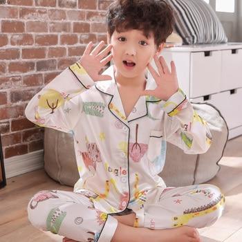 32225f183 2019 primavera pijamas de seda traje cómodo niñas ropa de dormir traje de  niños Pijama de Niños de dibujos animados Homewear niños traje de bebé  Pijama