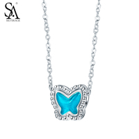 SA SILVERAGE Silver Necklace Opal Butterfly Pendant Genuine 925 Sterling Silver Necklace For Women Accessory