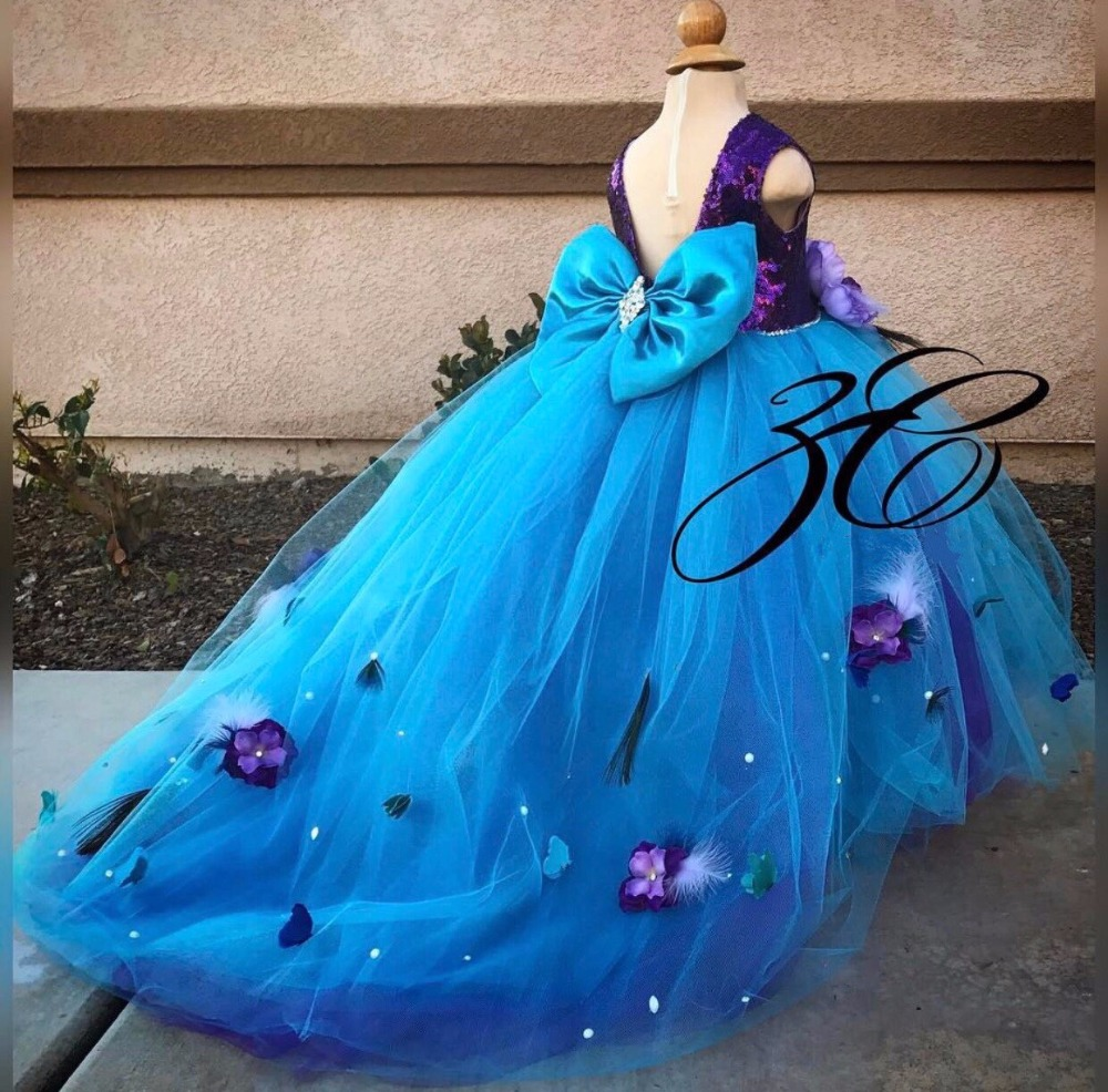Long train open back flower girl dress purple sequin top with blue tulle beaded crystals girl prom evening gown for pageant