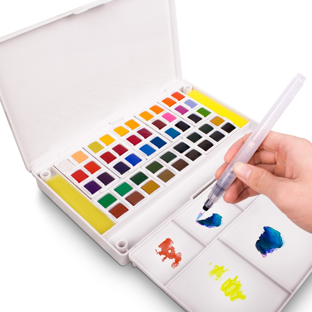 Watercolour Paint Set Pocket-Sized - 12/18/24/36 Watercolour Paint Box Half Pans Painting Pigment Set