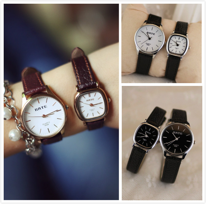 Luxury Classic Rate Brand Gold Silver Genuine Leather Quartz Wrist Watch Bracelet Gift for Women Men Japan Core High Quality  classic ulzzang brand vintage genuine leather women men lovers quartz wrist watch gift black white brown