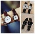 Tasa de lujo Clásico de la Marca Oro Plata Cuero Genuino Pulsera de Cuarzo Reloj de Pulsera de Regalo para Mujeres Hombres Japón Núcleo de Alta Calidad