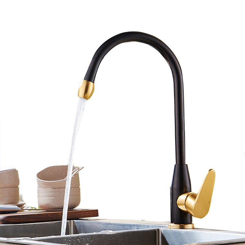 Kitchen Faucet Space Aluminum Gold Single Handle Hot and Cold Water Vessel Sink Basin Mixer Tap 360 Degree Rotation Water Faucet