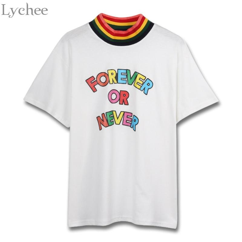 Lychee Harajuku Summer Women T Shirt Rainbow Letter Print Patchwork Casual Stand Collar Short Sleeve T Shirt Tee Top Female