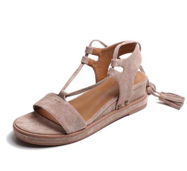 Nouvelles femmes gladiateur sandales frange sandales à talons compensés plate-forme chaussures d'été femmes à lacets fond épais sexy talons hauts sandales