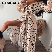 Women Letter Print Sexy V-Neck Thigh Slit Maxi Dress Long Sleeve Elegant Boho Beach Dress Casual Long Dresses