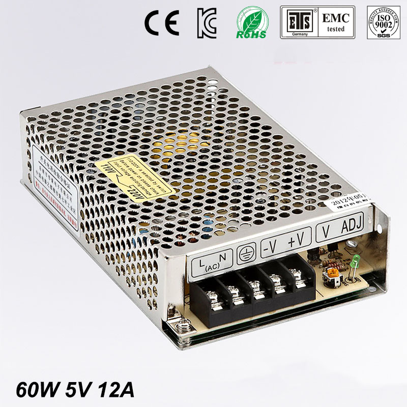Best quality 5V 12A 60W Switching Power Supply Driver for LED Strip AC 100-240V Input to DC 5V free shipping 36pcs best quality 12v 30a 360w switching power supply driver for led strip ac 100 240v input to dc 12v30a