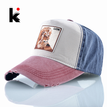 Spring Baseball Cap Men Women Fashion Lion Embroidery Snapback Hat Summer Cotton Grinding Washed denim Hip Hop Bone Casquette 1