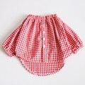 2016 cómodos de las muchachas tops blusas de algodón a cuadros rojo y negro sin hombro ropa de los niños camisa de los niños ropa de bebé niña