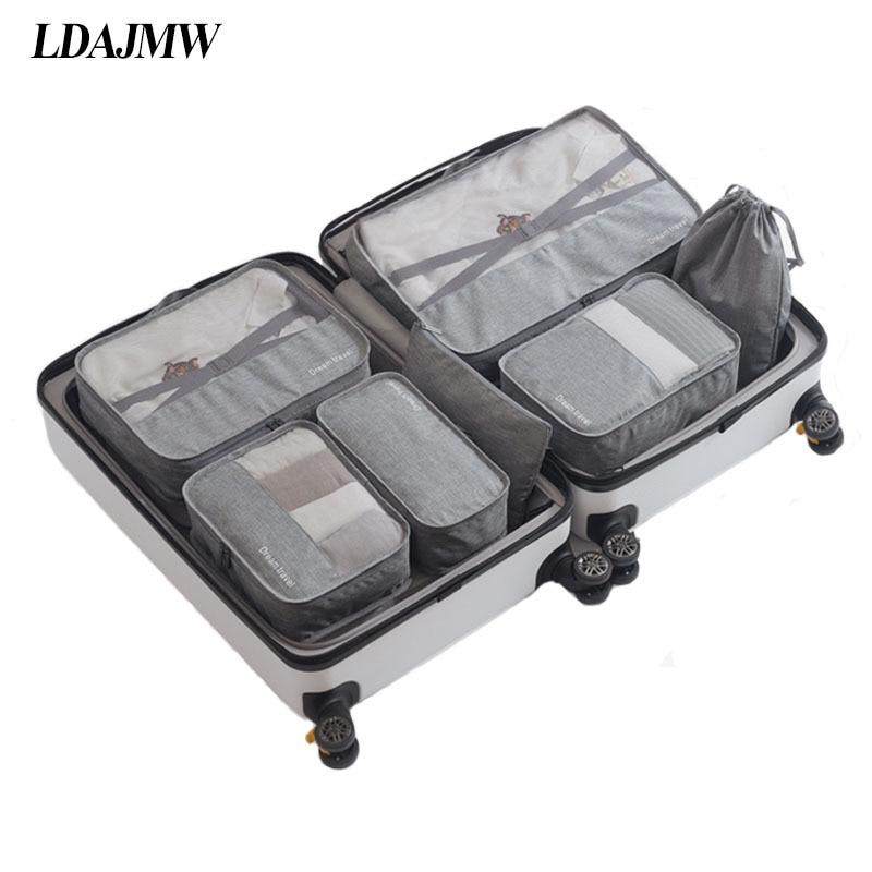 LDAJMW 7Pcs/set Trip Luggage Organizer Oxford Portable Travel Partition Pouch Storage Bags Man Woman Toiletries Underwear Bag Shoe Bags