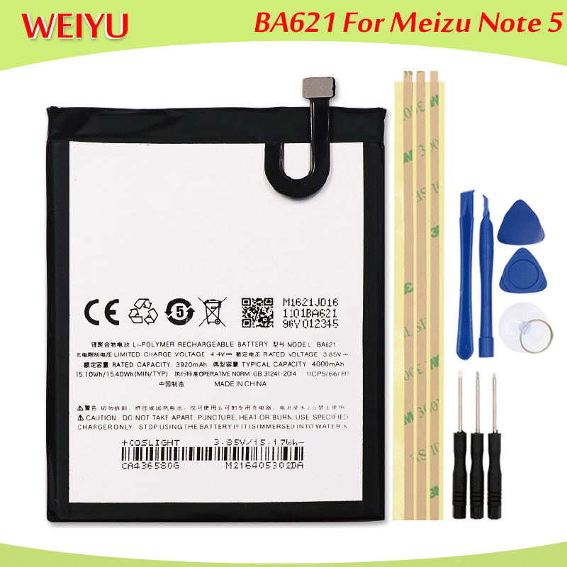 Mobile Phone Batteries Mobile Phone Parts Ba621 Batterie For Meizu Note 5 Battery Meilan Note5 M5 Bateria Batterij Accumulator 4000mah+tools