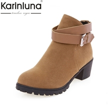 2017 New Women's Spring Boots Roman style Ankle Straps Outdoor Casual Dress Platform Shoes Autumn Ankle Boots Big size 34-43