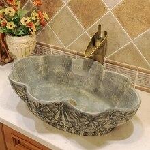 Oval gris estilo antiguo, Europeo Cuenca del arte de la cerámica se hunde contra lavado superior baño cuenca buque vanidades recipiente de cerámica fregadero
