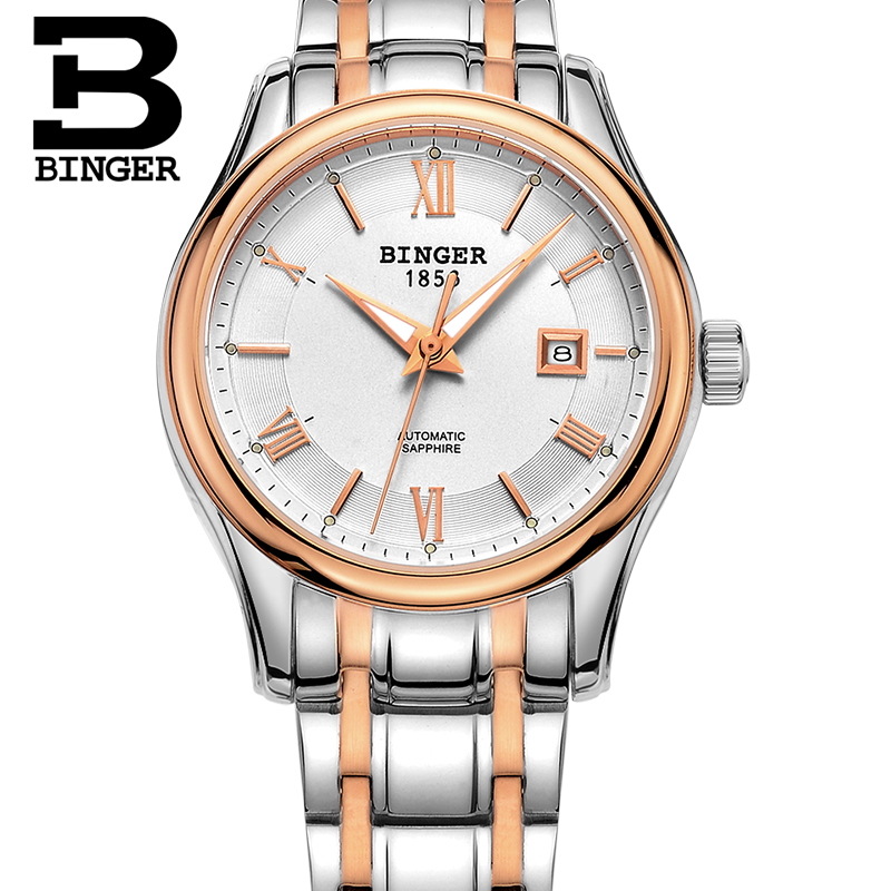 Здесь продается  Switzerland BINGER Women watches Luxury Brand Watch Women Mechanical Wristwatches Sapphire stainless Steel montre femme B5002L-4  Часы