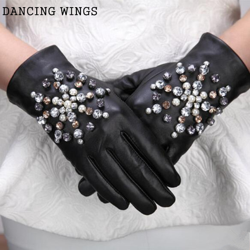 Women 's Leather Gloves Fashion Handmade Snowflakes Diamonds Sheepskin Gloves Female Warm Winter Glove
