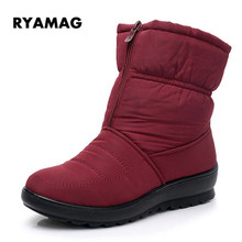 d5fe08b6d084 RYAMAG Nylon Winter Warm Faux Fur Snow Fashion Solid Ankle Boots Waterproof  Casual Women Mother Flats Shoes Woman XWX6974