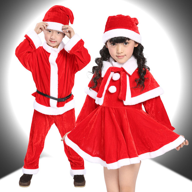 66cf3bca1bf6 10 Sets/lot Free Shipping Christmas Costumes for Children Kids Red Santa  Claus Outfits Xmas Clothes Boys Suits Girls Dresses