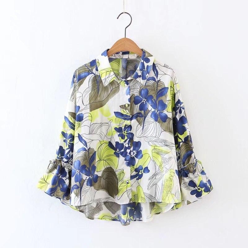 Spring Autumn Women's Print Flower Long Sleeve Causal Blouse & Shirts